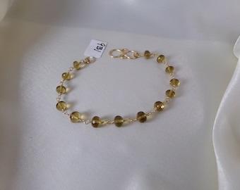 Honey quartz gold filled link bracelet gemstone handmade  item 931