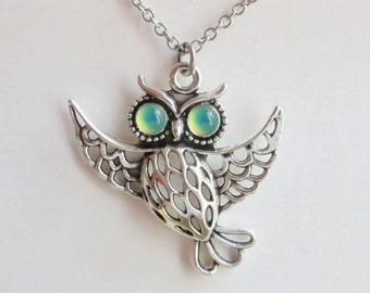Mood Necklace Owl - Antique Brass - Mood Stone 5 mm