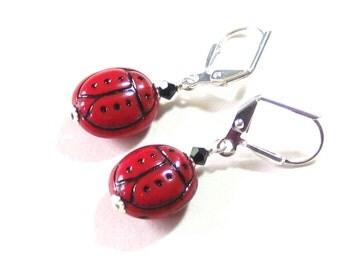 Red Ladybug Silver Dangle Earrings, Sterling Silver Leverback Earrings, Glass Jewelry, Small Bug Earrings, Clip on Earrings