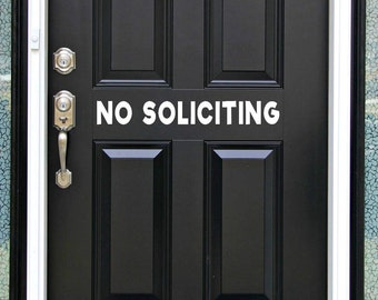 No Soliciting Sign, Front Door Sign, Front Door Decal