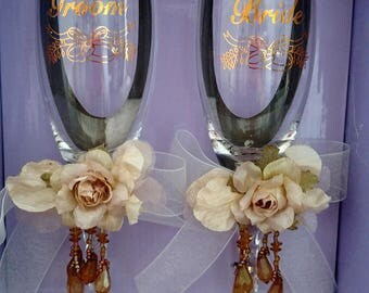 Bride and Groom Champagne Flutes Victorian Style