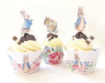 Cute Rabbit Cupcake wrappers & Cake Toppers - 6 Designs, Peter Rabbit, Beatrix Potter, Instant Printable Download PDF Files