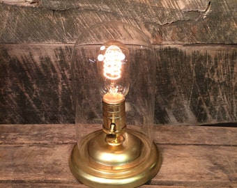 Glass Dome Edison Accent Lamp with Brass Base - Table Lamp Desk Lamp Bell Jar Cloche