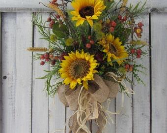 Fall Wreath, Country Wreath,  Autumn Wreath,  Sunflower Wreath,  Summer Wreath,  Sunflower Door Swag - Fall Outside Wreath - Fall Sunflower