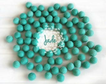 Wool Felt Balls - Size, Approx. 2CM - (18 - 20mm) - 25 Felt Balls Pack - Color Jade-1066 - Mermaid Green Felt Balls - Teal Color Pom Poms