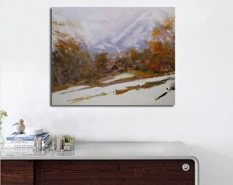 Original oil painting, Winter landscape painting, Blue mountains painting modern landscape art impressionist
