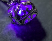 Steampunk Silver Glow In The Dark Pendant Hearts Locket with LED or Glow In The Dark Resin Orb, Now In 13 Colours!