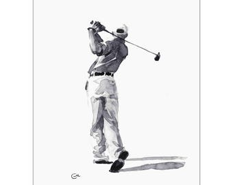 Golfer - Original Watercolor Painting 8.5 x 11 inches Golf Sport