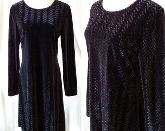 Vintage Maggy London Wavy Black Velvet Dress. Medium