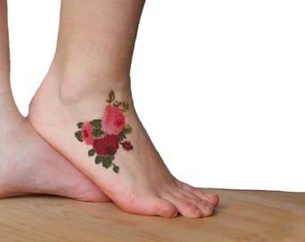 Rose and Purple Roses medium temporary tattoo /  botanical foot ankle tattoo / floral illustration temporary tattoo / vintage flowers tattoo