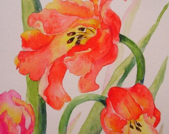 red and pink tulips  handpainted watercolor greeting card small format