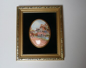 Vintage Countess Bone China Cameo Wall Plaques Made by Harleigh in Staffordshire England Country Scenes