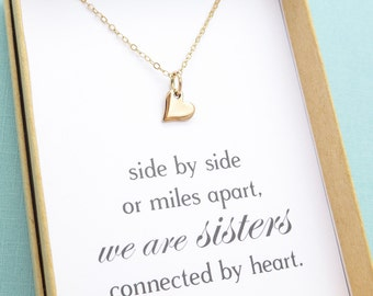 Sister Gift, Sister Jewelry, Sister Necklace, Tiny Heart Necklace, Best Friend Gift, Best Friend Jewelry, Friendship Necklace,Silver or Gold