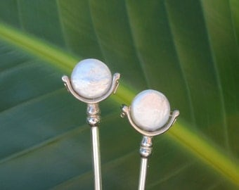 Two Sterling Silver Hair Sticks ~ White Coin Pearls ~ An elegant heirloom of simple classic design