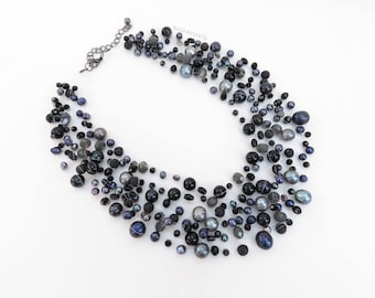 Black freshwater pearl necklace with crystal, stone on invisible thread, multi strands necklace, big necklace