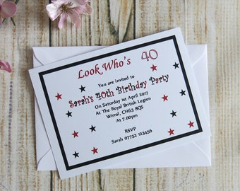 10 Personalised Birthday Invitations With Envelopes All Ages 16th, 18th, 21st, 30th. 40th, 50th, 60th, 70th, 80th, 90th, 100th Personalized