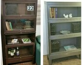 RESERVED for GC Bookcase Metal Barrister 4 Section Refinished Globe Wernicke Vintage Mid Century Display Cabinet Lawyers Bookshelf INV 22