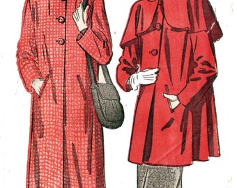 Advance 4814 Misses' Vintage 1940s Swing Coat in Two Lengths with Optional Capelet Sewing Pattern