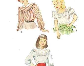 Simplicity 2658 Girl's Vintage 1940s Ruffle and Peasant Tops Sewing Pattern