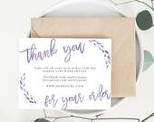 INSTANT Business Thank You Cards, Editable PDF Printable Packaging Inserts for Online Shops, Etsy Sellers | Watercolor Purple, Lola Template