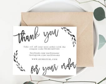 INSTANT Business Thank You Cards, Editable PDF Printable Packaging Inserts  For Online Shops, Etsy With Business Thank You Card Template