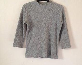 Vintage 90's Salt & Pepper Grey Speckled Knit Jumper Sweater Cropped Sleeves Turtleneck Fitted Grunge