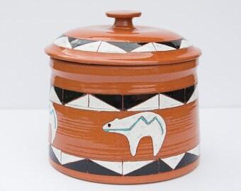 Pottery Jar with Lid, Ceramic Lidded Jar, Southwestern Pottery Jar, Southwestern Kitchen Canister, Cookie Jar, Ceramic Jar, Handmade Pottery