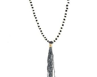 Silver & Black Beaded Tassel Necklace <SALE>