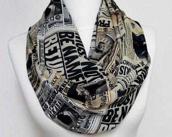 Harry Potter Scarf Newspaper Pattern Scarf Book Scarf Infinity Scarf Geek Gift Fall Winter Fashion Unique Gift For Her Nerds Geeky Item