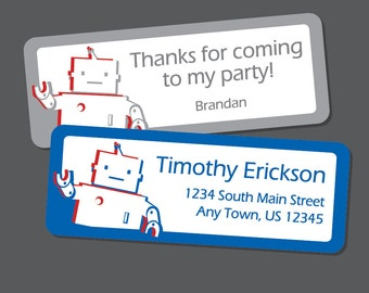 Robot Address Labels,  Robot Stickers, Return Address Labels, Address Stickers, Favor Stickers, Robot Party, Personalized, Custom, boys