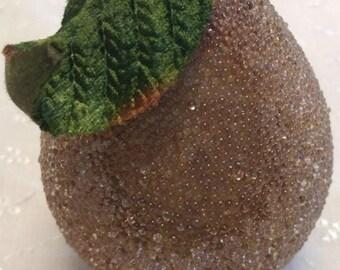Vintage Sugar (Beaded) Golden Pear Decoration