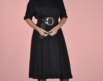 Vintage 80s Black Knit Bat Wing Cowl Neck Midi Dress