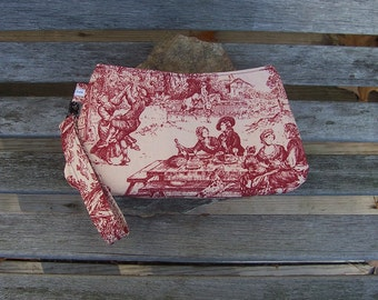 Colonial Toile Wristlet - Clutch Handbag Purse - Victorian Nature - Farmhouse French Country Chic  - Swoon Coraline