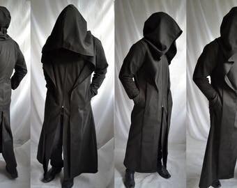 Anon Coat ( mens coat overcoat waistcoat extra large hood trench coat reaper ritual robe dystopia post apocalyptic )