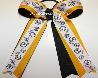 Volleyball Hair Bow, Gold Black Ribbon Bow, Yellow Gold Black Volleyball Ponytail Holder, Volleyball School Spirit Bow, Wholesale Bulk Price