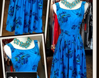 Vintage Blue Floral Cotton Full Skirt Dress FREE SHIPPING