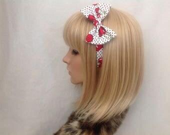 Black and white Polka dot cherry print fabric headband hair bow rockabilly psychobilly pin up girl vintage retro cute kawaii accessories