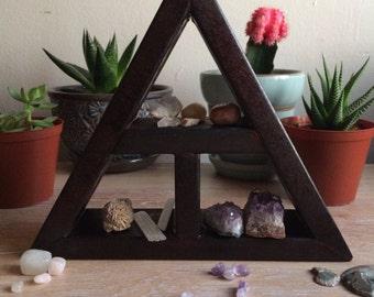 HARDWOOD crystal triangle SHELF repurposed wood