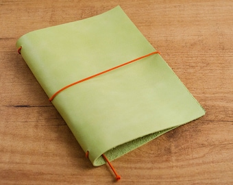 Handmade Leather Traveler's Notebook, Midori style in Passport / Pocket / A6 size - Worn Lime Green