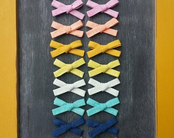Linen School Girl Bow Set, Hand Tied, Single Bow, Nylon Headband, Alligator Clip, Pig Tail Bows, Easter, Spring