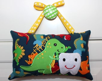 Tooth Fairy Pillow, Boy's Personalized Tooth Fairy Pillow, Dinosaur fabric, free note from tooth fairy included
