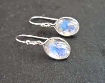 Oval Moonstone Earrings, Blue Moonstone Earrings, 9 x 7 mm Silver Moonstone Dangle, Something Blue, Bridal Earrings
