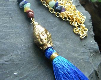 chakra necklace spiritual necklace zen necklace tassel necklace yoga necklace Buddha necklace meditation necklace  in yoga boho gypsy