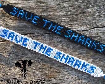 Save The Sharks Bracelet - Ocean Inspired - Custom Made - Friendship Bracelet