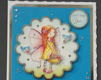 """Just For You Card,Special Day Card, Girl Card, Fairy Birthday Card, 6""""x6"""" Card, 20#"""