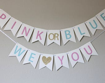 gender reveal party banner - gender reveal party - gender reveal decorations -  baby shower decor - Pink or Blue We Love You