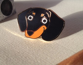 Dachshund hard enamel pin (black&tan), lapel, enamel pin