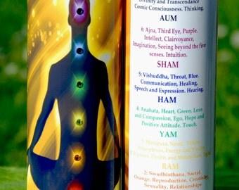 Boy Chakra Mantra Meditation Candle embellished with Swarovski Crystals