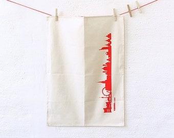 Dish Towel red VIENNA Skyline, green gift, Organic Cotton Tea Towel, VIENNA print red, ecofriendly Vienna Kitchen Decor, handmade 44spaces