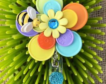BEE CHEERFUL - id badge nurse/cna/tech/rn id badge reel id holder - CHEERUPyouruniform retractable nurse badge upcycled medication flip off